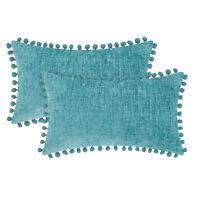 2Pcs Teal Pom Poms Cushion Covers Bolster Pillows Shells Chenille Decor 30x50cm
