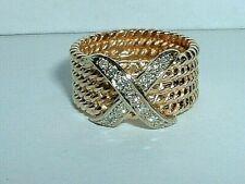 14K YELLOW AND WHITE GOLD DIAMOND BAND RING