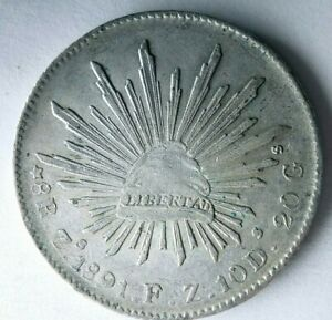 1891 Zs MEXICO 8 REALES - Strong Value Uncommon Silver Coin - lot #F25