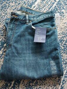 GAP W36 L34 Straight Zipper Fly Blue Mens Denim Jeans