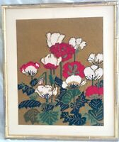 Vintage MId-Century Framed Needle Point Needlepoint Poppies/Floral