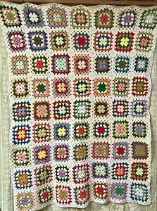 Vintage Crocheted Granny Square Afghan Cream 100% Wool Very Pretty 60 x 76