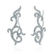 BERRICLE Sterling Silver Cubic Zirconia CZ Filigree Fashion Ear Crawlers