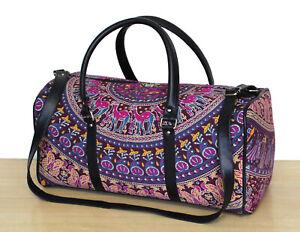 Indian 100%Cotton Sports Duffel Luggage Bag With Adjustable Strap Ethnic Mandala