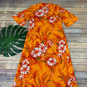Vintage Retro Dress Hawaiian Palm Trees Pattern Size ML 60s Peach Shift Dress Coral Shift Novelty Print Women/'s Resort Wear