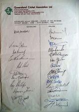 QUEENSLAND v ENGLAND 1982-83 ASHES TOUR MATCH OFFICIAL CRICKET AUTOGRAPH SHEET
