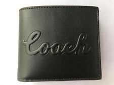 COACH F76875 3 IN 1 DEBOSSED LEATHER WALLET BILLFOLD BIFOLD BLACK MENS ID HOLDER