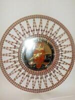 """Vintage Red & Clear Beaded Starburst Clock Mirror Owl 18"""" Handmade Parts Repair"""