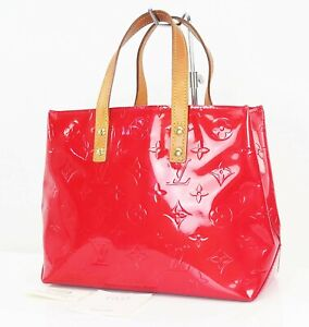 Authentic LOUIS VUITTON Reade PM Red Vernis Leather Tote Hand Bag Purse #38206