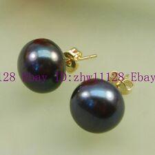 Pearl 18K Gp Stud Earrings 1 pair Black 9-10mm Certified Cultured