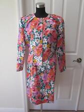 Liz Claiborne 2 Pc Multi Color Flower Print Jacket & Skirt Suit Sz 12
