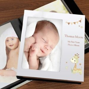 Personalised Baby Photo Album Hessian Giraffe Album 4x6, Christening First Years