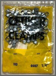 """Oetiker Clamps 0507 2-Ear Clamp - 1/4"""" - Zinc-Plated Steel - Lot of 100!"""