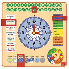 Jumbo spiele D51309 - Holz Kalenderuhr Lernuhr
