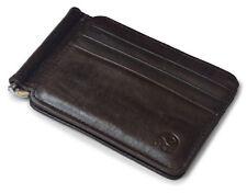Brown Leather Slim Spring Money Clip Wallet Front Pocket Credit Card Case Holder