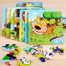 9Pcs/Set Cute Cartoon Animals Wooden Puzzle Jigsaw Kids Development Toys Gift 】】