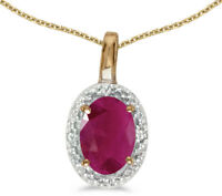 14k Yellow Gold Oval Ruby and Diamond Pendant (no chain) (CM-P2615X-07)