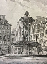 Paris Fontaine de la place de Louvois estampe de 1856