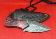 Handmade Damascus Double Edge Dagger  Red Wood Scales  Neck Knife