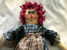 """Vintage Large Creepy Scary Raggy Anne Doll Hair Overalls Soft Body 23"""" Tall"""