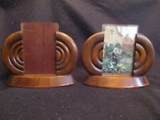 PAIR of ART DECO PHOTO FRAMES in POLISHED MAHOGANY & GLASS c.1930's EX