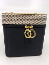 "New Bvlgari Jewelry Box Case Gold & Black Satin 6"" x 6"" x 6.5"""