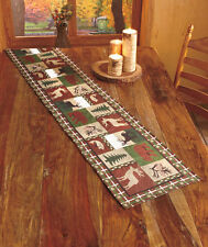 Evergreen Wildlife Tapestry Table Linens Lodge Cabin Northwoods Woodland Runner