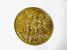 LOMBARD ENGLAND HAMMERED BRASS PLATE WALL HANGING family scene farm windmill