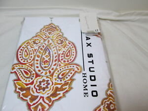 NEW Max Studio Home LEONARD DAMASK Shower Curtain 72x72 ~ Taupe, Rust, Gold, Red