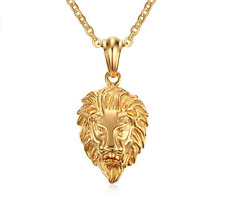 Men's 18K Real Gold Plated Lion Head Pendant Necklace