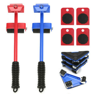 440/660lbs Heavy Duty Furniture Lifter with 4 Moving Sliders Move Roller Tools