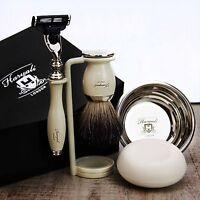 SHAVING SET Black Badger Brush & Triple Blade Razor CLASSIC MEN'S GROOMING GIFT
