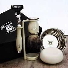 SHAVING SET Black Badger Brush & Gillette Mach3 CLASSIC MEN'S GROOMING KIT GIFT
