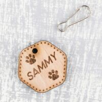 Personalised Wooden Pet ID Collar Cat Dog Tags 35mm Paws Print Custom Made