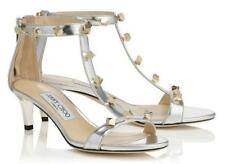 $975 New JIMMY CHOO Silver LAMBA 50 Metallic Sz 38 Sandals Shoes