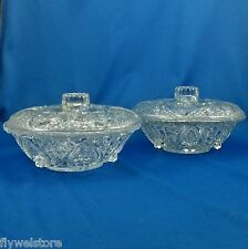 """KIG Malaysia Covered Nut Candy Bowls Clear Heart Roses Fluer-de-lis 7"""" Set of 2"""