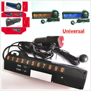 Car SUV Guide Ball Thermometer Voltmeter Time LED Electronic Clock Phone Number