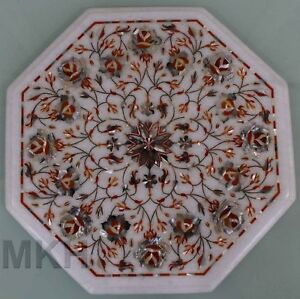 White Marble Coffee Table Top Inlay Handmade Vintage Art Modern Side End Tables