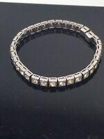 Dorsons Channel Vintage Art Deco Sterling Silver Crystal Rhinestone Bracelet