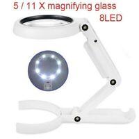 LED Tischlupe mit Ständer 2x und 6x Fach Vergrößerung Arbeitslupe Leselupe Lupe