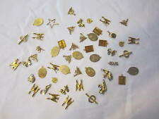 VINTAGE GOLD TONE LOT OF 48 METAL NECKLACE/BRACELET PENDANTS OR CHARMS
