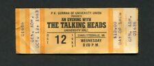 1983 Talking Heads Unused Concert Ticket Charlottesville Speaking In Toungues