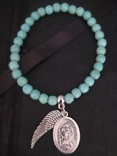 Turquoise Beaded Bracelet with St Saint Christopher & Angel Wing Charms