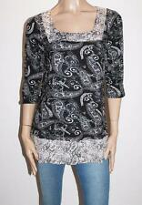 Millers Brand Black Paisley Print 3/4 Sleeve Tunic Top Size 14-L BNWT #SF39