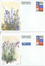 Liechtenstein Carte Postale 80 110 Stationery Iris Larkspur Flowers Postcard x 2