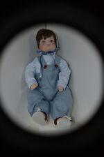 Vintage Porcelain Baby Boy Doll Ladybugs 1/4 arms Brown Hair Blue Eyes