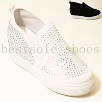 LADIES WOMENS DIAMANTE INNER HEEL WEDGE LOAFERS TRAINERS PUMPS FLATS SHOES SIZE