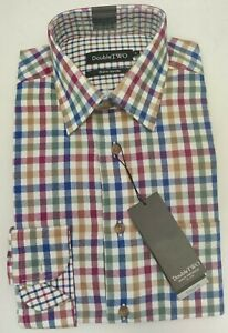100% BRUSHED COTTON NAVY CHECK WARM HANDLE COUNTRY HUNTING SHIRT BY DOUBLE TWO