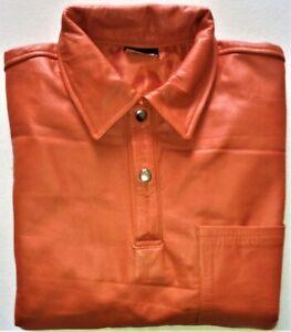 POLOHemd XL Kurzarm  Orange Lederhemd Einzelstück NEU leather shirt  XL cuir