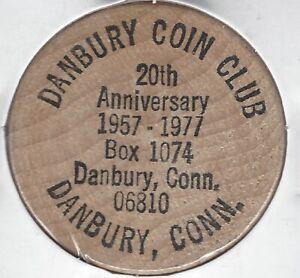 1957-1977, DANBURY COIN CLUB, 20th Anniversary, Connecticut, Token Wooden Nickel